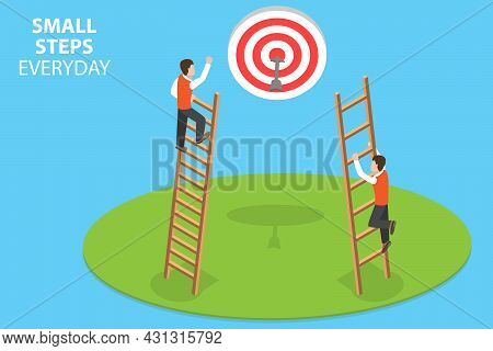 3d Isometric Flat Vector Conceptual Illustration Of Small Steps Everyday, Achieving A Big Goal
