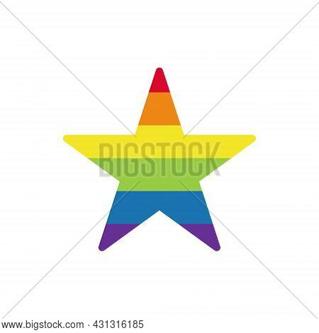 Rainbow Colored Star. Lgbtq Community Symbol Isolated. Concept Of Lgbt People Element. Gay Parade. G