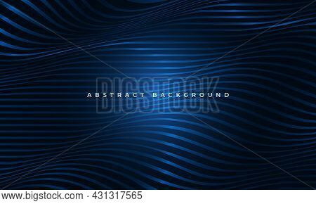 Abstract Luxury Blue Waved Glowing Shapes Elegance Background. Striped Horizontal Wavy Line Modern P