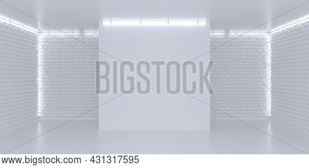 Simple Bright White Background. Three-dimensional Stage. Illuminated Brick Walls, Neon Lights. 3d Re