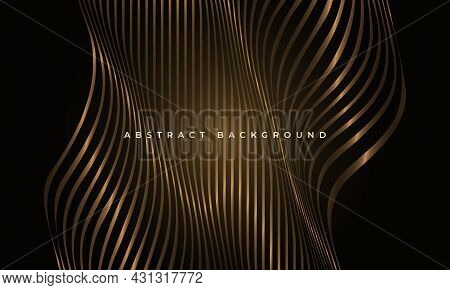 Abstract Luxury Black And Gold Glowing Waved Shapes Elegance Background. Striped Vertical Wavy Golde