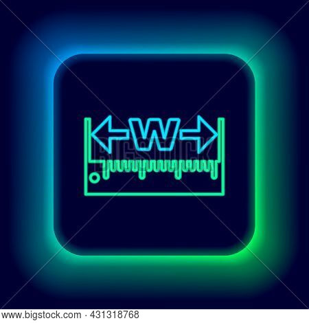 Glowing Neon Line Measuring Height And Length Icon Isolated On Black Background. Ruler, Straightedge