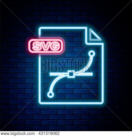 Glowing Neon Line Svg File Document. Download Svg Button Icon Isolated On Brick Wall Background. Svg