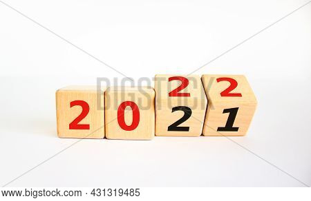 2022 Happy New Year Symbol. Turned A Cube, Symbolize The Change From 2021 To The New Year 2022. Beau