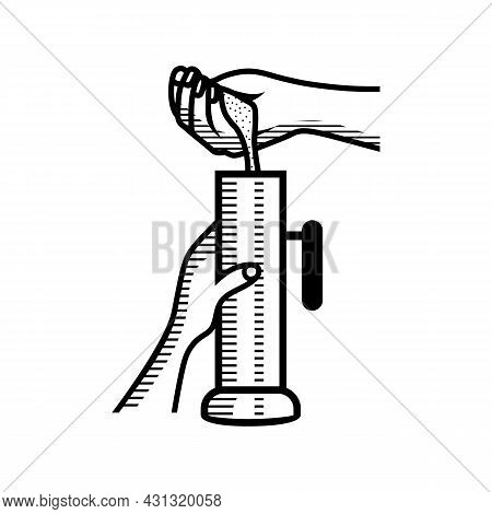Pouring Rice Powder To Steam Rice Cake Maker Also Known Puttu Kutty Outline Sketch