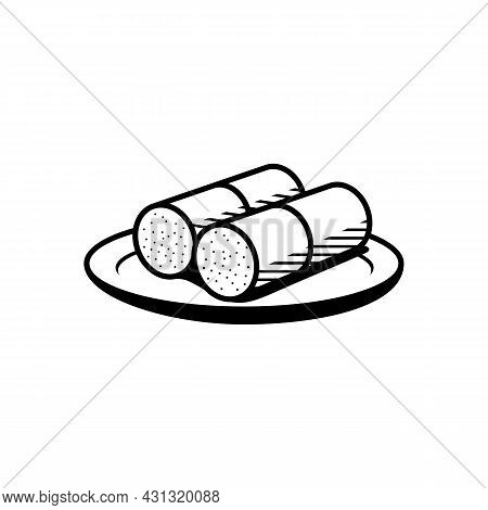 South Indian Breakfast Dish Steam Rice Cake Also Known Kerala Puttu Outine Sketch