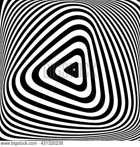 Abstract Triangle Lines Op Art Pattern With Illusion Of Rotation Torsion Movementand 3d Effect. Vect