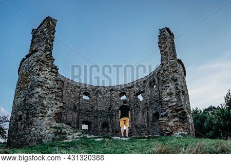 Rural Old Windmill Pricovy Built In 18th Century,beautiful And Large Dutch-type Mill In Czech Republ