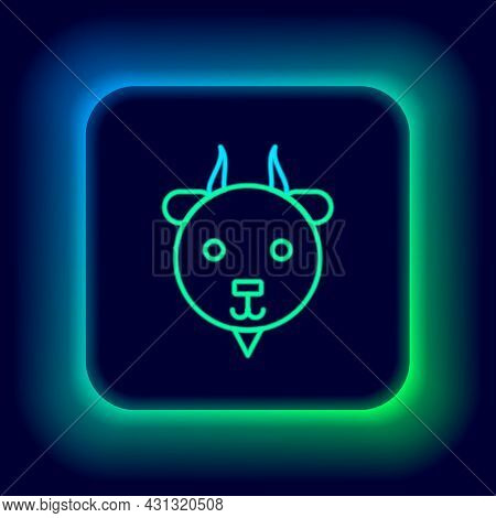 Glowing Neon Line Aries Zodiac Sign Icon Isolated On Black Background. Astrological Horoscope Collec