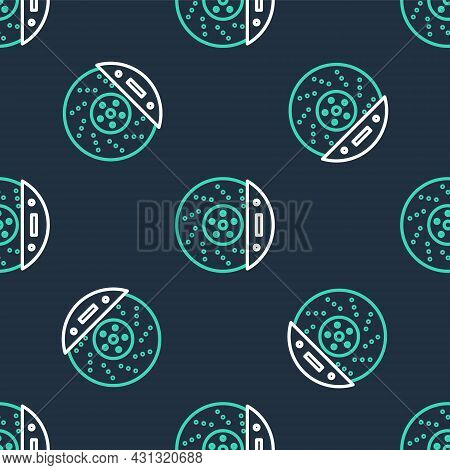 Line Car Brake Disk With Caliper Icon Isolated Seamless Pattern On Black Background. Vector