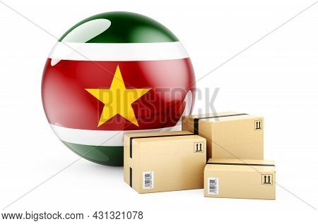 Parcels With Surinamese Flag. Shipping And Delivery In Suriname, Concept. 3d Rendering Isolated On W