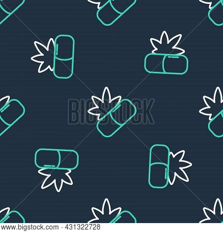 Line Medical Pills With Marijuana Or Cannabis Leaf Icon Isolated Seamless Pattern On Black Backgroun