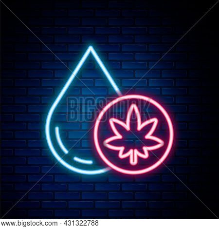 Glowing Neon Line Medical Marijuana Or Cannabis Leaf Olive Oil Drop Icon Isolated On Brick Wall Back