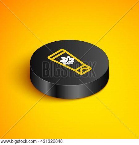 Isometric Line Medical Cream With Marijuana Or Cannabis Leaf Icon Isolated On Yellow Background. Moc