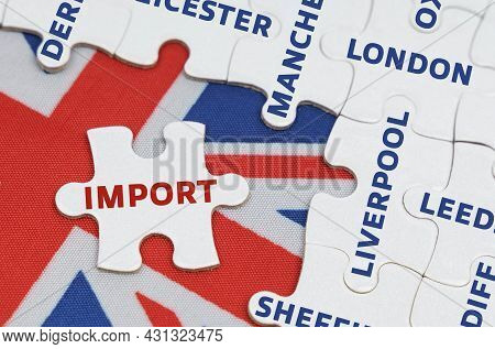 National Concept. On The Flag Of Great Britain There Are Puzzles With The Names Of Cities And A Sepa