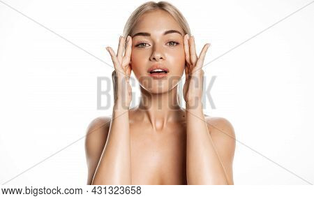 Spa And Skin Care. Young Female Model With Healthy, Glowing Face And Body, Massaging Using Facial Lo