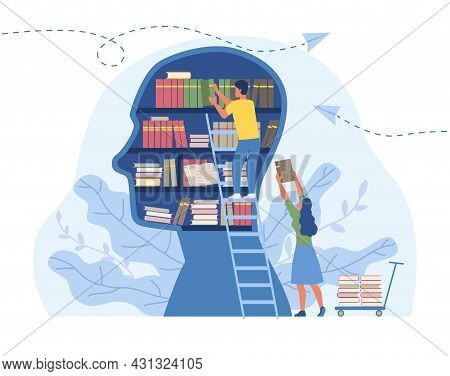 Literature For Personal Development Concept. Man Stands Puts Useful Information In Form Of Books Int