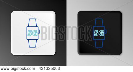 Line Smart Watch 5g New Wireless Internet Wifi Icon Isolated On Grey Background. Global Network High