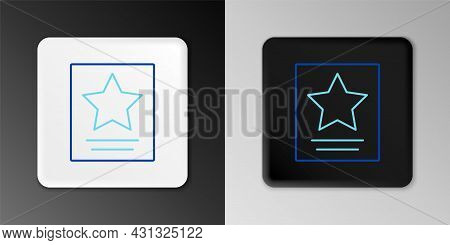 Line Hollywood Walk Of Fame Star On Celebrity Boulevard Icon Isolated On Grey Background. Famous Sid
