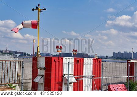 Weather Station Used By The Meteorological Service Against A Blue Sky