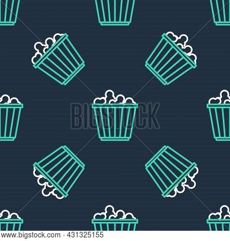 Line Popcorn In Cardboard Box Icon Isolated Seamless Pattern On Black Background. Popcorn Bucket Box