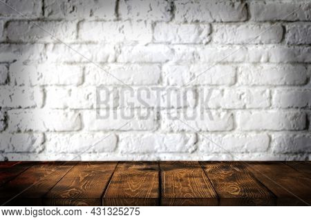 Background Wooden Table And White Brick Wall In The Background, Empty Brown Wooden Table Top For Dis