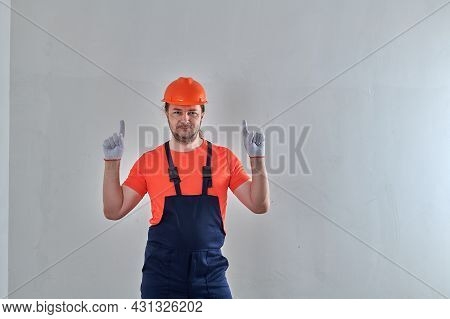 Smart Worker In White Gloves Raised His Hands Up