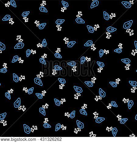 Line Ear Listen Sound Signal Icon Isolated Seamless Pattern On Black Background. Ear Hearing. Vector