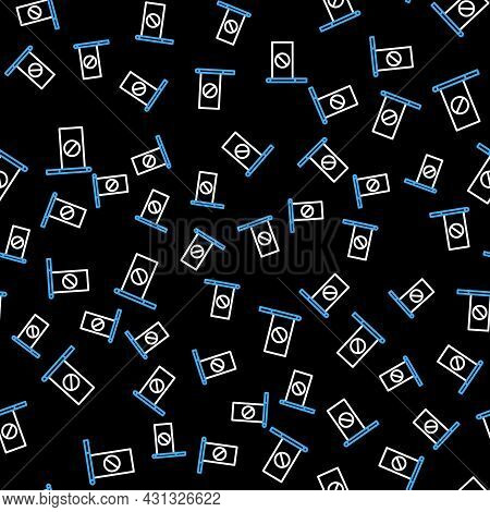 Line Protest Icon Isolated Seamless Pattern On Black Background. Meeting, Protester, Picket, Speech,