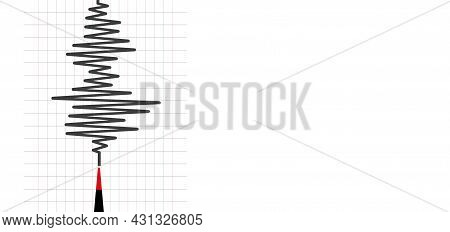 Earthquake Background With  Seismogram For Seismic Measurement.