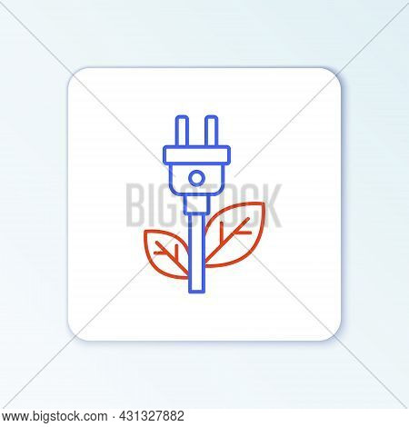 Line Electric Saving Plug In Leaf Icon Isolated On White Background. Save Energy Electricity. Enviro