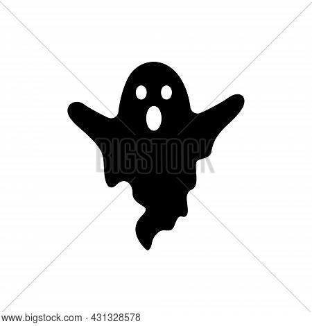 Cute Halloween Ghost Silhouette Icon. Spooky And Scary Monster Halloween Glyph Pictogram. Funny Dark