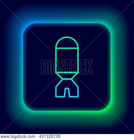 Glowing Neon Line Rocket Launcher With Missile Icon Isolated On Black Background. Colorful Outline C
