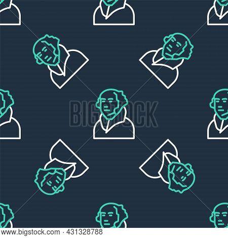 Line George Washington Icon Isolated Seamless Pattern On Black Background. Vector