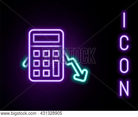 Glowing Neon Line Calculation Of Expenses Icon Isolated On Black Background. Colorful Outline Concep