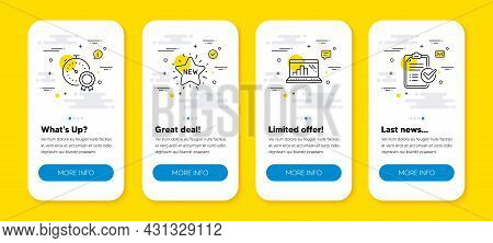 Vector Set Of Best Result, Graph Laptop And New Star Line Icons Set. Ui Phone App Screens With Line
