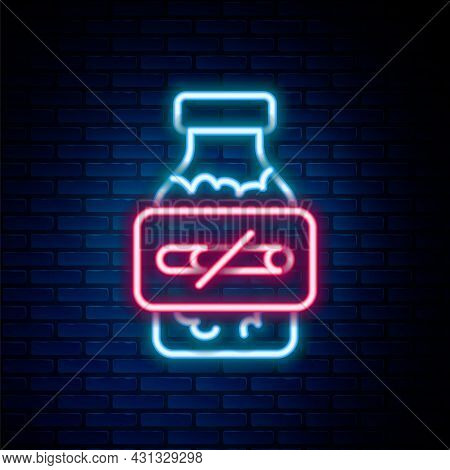Glowing Neon Line Nicotine Gum In Blister Pack Icon Isolated On Brick Wall Background. Helps Calm Cr
