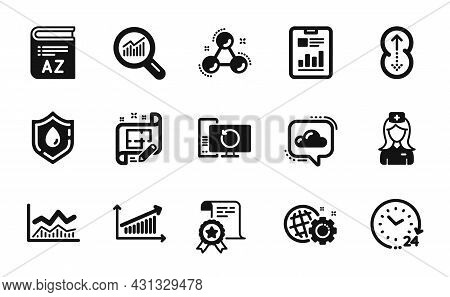 Vector Set Of Certificate, Data Analysis And Swipe Up Icons Simple Set. Report Document, Cloud Commu