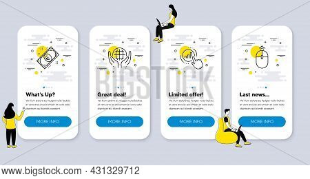 Set Of Business Icons, Such As Euro Money, Graph Chart, Organic Tested Icons. Ui Phone App Screens W