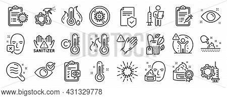 Set Of Medical Icons, Such As Insurance Policy, High Thermometer, Coronavirus Icons. Coronavirus Vac