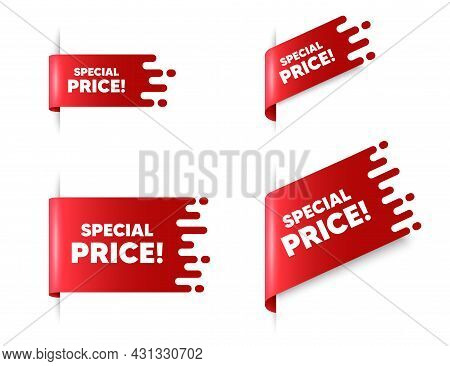 Special Price Text. Red Ribbon Tag Banners Set. Sale Sign. Advertising Discounts Symbol. Special Pri