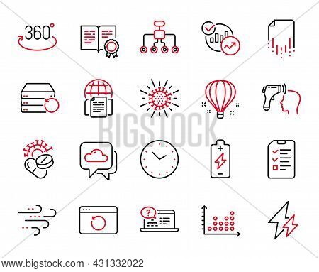 Vector Set Of Science Icons Related To Time, Battery Charging And Electronic Thermometer Icons. Elec