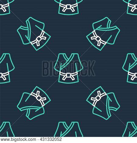 Line Kimono Icon Isolated Seamless Pattern On Black Background. Chinese, Japanese, Korean, Vietnames