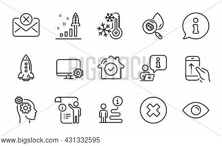 Technology Icons Set. Included Icon As Monitor Settings, Rocket, Close Button Signs. Reject Mail, Ma
