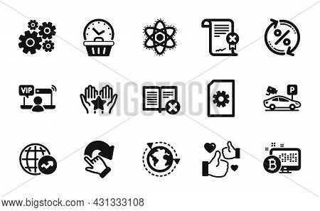 Vector Set Of Bitcoin System, Reject Certificate And Chemistry Atom Icons Simple Set. Reject Book, L