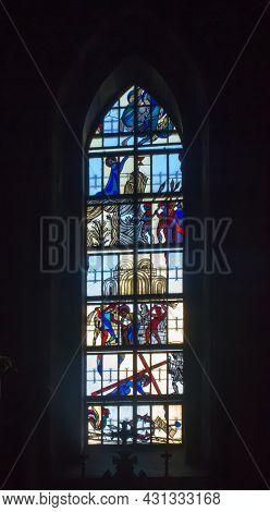 Ludzmierz, Poland June 10, 2021: Stained Glass Window In The Sanctuary Of Our Lady In Ludzmierz, Pol
