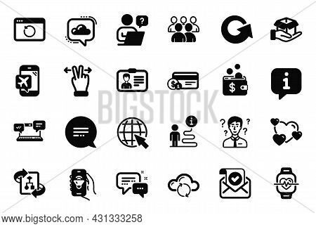 Vector Set Of Technology Icons Related To Group, Music App And Hold Box Icons. Text Message, Online