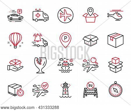 Vector Set Of Transportation Icons Related To Ship Travel, Lighthouse And Parcel Icons. Fragile Pack
