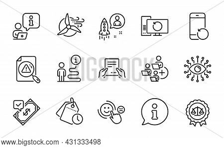 Education Icons Set. Included Icon As Justice Scales, Receive File, Recovery Phone Signs. Accepted P