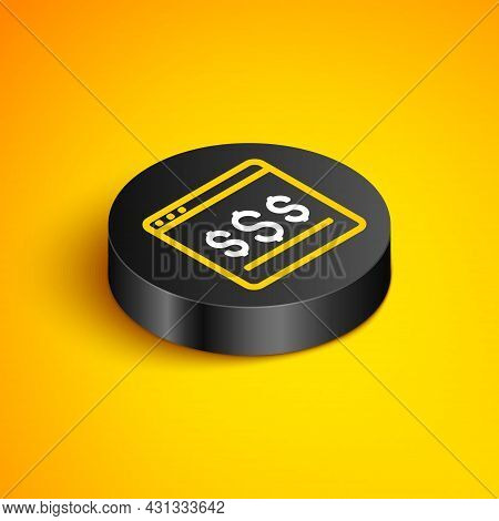 Isometric Line Online Shopping On Screen Icon Isolated On Yellow Background. Concept E-commerce, E-b